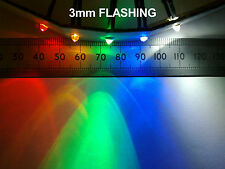 Qty 10 : 3mm 12V Wired Flashing LED in Various Colours (includes resistor)