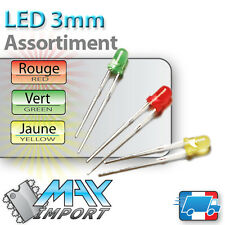 LED 3mm - Assortiment : rouges + vertes + jaunes ( Compatible Arduino )