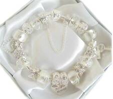 LADIES CHARM BRACELET ICE WHITE & CLEAR  BIRTHDAY WEDDING  BEAD GIFT PRESENT