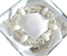 LADIES CHARM BRACELET WHITE CLEAR SPARKLE RHINESTONE BIRTHDAY WEDDING  BEAD GIFT