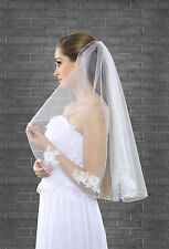 New 1 Tier White Ivory Wedding Bridal Elbow Veil With Comb & Lace Edge 28""