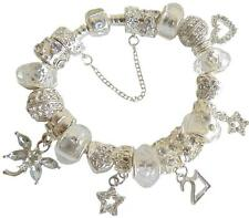 Ladies Charm Bracelet SPARKLING Ice WHITE CLEAR Gift BOX birthday PERSONALISE