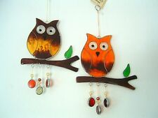 Owl on branch suncatcher window wall hanging home garden decoration bird gift
