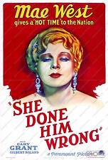 She done him wrong, Mae West :  Vintage Movie Advertising  Poster reproduction