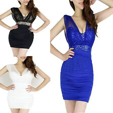 Sexy Women Mesh Sequins Backless Bodycon Party Evening cocktail Club Mini Dress
