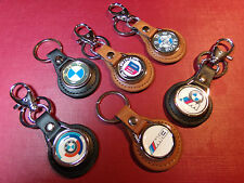 BMW & ALPINA GENUINE  LEATHER KEY RINGS, 10 DESIGNS + STICKER