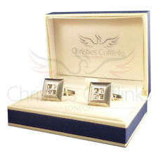 Brushed Silver Black & Clear Crystal Designer Cufflinks - Womens Cufflinks Gift