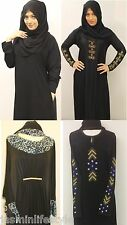 Ladies Diamonte Designer Abaya Jilbab Hijab Burqa Kaftan Muslim Islamic Dress UK