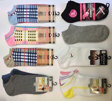 12 Pairs Ladies Women Trainer Ankle Socks Plain Checked Fashion Design UK Size