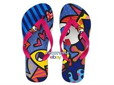 ROMERO BRITTO DEEPLY IN LOVE  FLIP FLOPS   with tag BRAZIL   ** NEW **