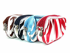 LADIES RETRO STYLE STRIPED PURSE WALLET CLUTCH BAG WITH WRIST STRAP MAKE UP BAG