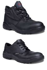 Mens Safety Work Chukka Boots Shoes Black Leather Steel Toe Cap Ladies New