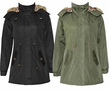New Ladies Long Parka Jackets Fur Hooded Leopard Lined Shower Proof Jackets10-26
