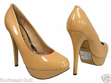 "WOMENS DESIGNER COURT SHOES 5"" HEELS NUDE PATENT PLATFORM SIZE 4 5 6 7 NEW"