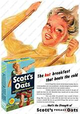 Scotts Porage oats ,  Vintage advertising poster reproduction.