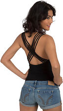 Womens Cowling Strappy Open Back Stretch Fit Clubwear Top Sexy Black Party Shirt