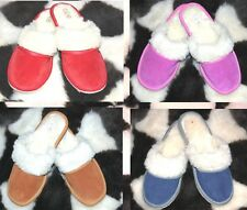 Ladies/Womens Slippers Suede And Woll Leather Sheep Multicolour Size 4 5 6 7 8