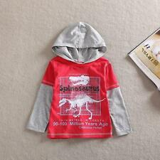 New Boys Dinosaur Hooded Red Long Sleeve Top T-Shirt 18mths-6Yrs - UK SELLER