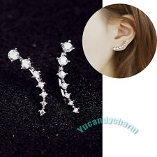 Quality Set of Two Made in Korea 7-STAR CZ Curvy hook Earrings White Gold Plated