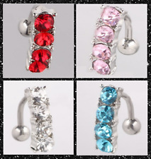 PRETTY SURGICAL STEEL 4 COLOURS CZ GEM REVERSE DROP SILVER BELLY BAR NAVEL UK