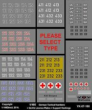 1/100 15mm 2.9mm Decals German WWII Tank Numbers Sd.Kfz Licence plates YK-07-100