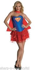 Ladies Sexy Supergirl Superwoman Super hero Hen Fancy Dress Costume Outfit 8-18