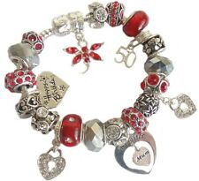 Ladies Women's Birthday Charm Bracelet RUBY SILVER  CLEAR SPARKLE Gift Boxed