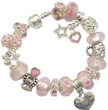 Ladies Girls Charm Bracelet PERSONALISED Gift Box Birthday/Family PINK & SILVER