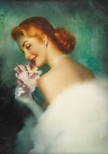 Edward Runci Red Haired Pinup with Flower Vintage Art Print - A4 A3 A2 A1