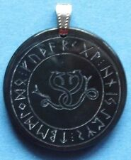 Celtic Snakes in Rune Circle Amulet, water buffalo horn