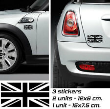3x MINI COOPER UNION JACK Vinyl Decal Sticker Adesivi Autocollant Pegatina
