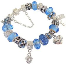 Ladies Charm Bracelet PERSONALISE Cornflower Blue & Clear SPARKLE Gift BIRTHDAY