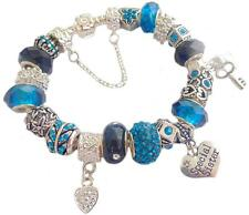 Ladies Charm Bracelet Birthday PEACOCK BLUE SILVER SPARKLE Gift Box PERSONALISE