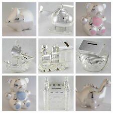SILVER PLATED MONEY BOX BOXED CHRISTENING NAMING CEREMONY BABY SHOWER GIFT