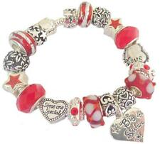 Ladies Girls Charm Bracelet SOMEONE SPECIAL RED WHITE SILVER Sparkle PERSONALISE
