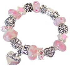 Ladies Girls Charm Bracelet SOMEONE SPECIAL gift  PINK WHITE Sparkle PERSONALISE