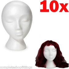 10 x POLYSTYRENE FEMALE DISPLAY HEAD MANNEQUIN