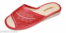 New women comfort house slippers leather slip on shoes UK Size 3 4 5 6 7 8