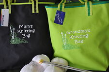 Personalised Knitting / Craft Tote Bag - Large Project Storage - Any Name