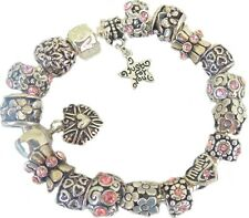 Ladies Girls Charm Bracelet Silver & Pink PERSONALISE Birthday Just For You !