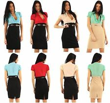 New Ladies Two Tone Belted Body Con 2 In1 Pencil Dress 8-16