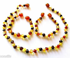 Genuine Baltic amber teething necklace or anklet/bracelet, multi baroque beads