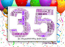 Personalised Age/Number Word Art-Frame Choice-FREE Message-BIRTHDAY GIFT-Any Age