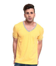 IZINC Yellow  V-Neck Neck808 Half Sleeves T-Shirt