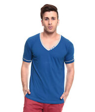 IZINC Blue V-Neck808  Neck Half Sleeves T-Shirt