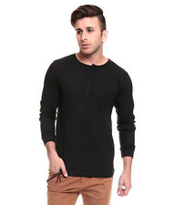 IZINC  Black  Henley707 Neck Full Sleeves T-Shirt