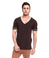 IZINC Brown V-Neck808  Half Sleeves  T-Shirt
