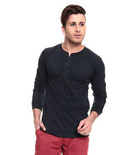 IZINC Navy Henley Neck Full Sleeves T-Shirt