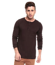 IZINC Brown Henley707 Neck Full Sleeves T-Shirt
