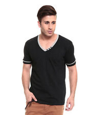 IZINC  Black  V-Neck808 Half Sleeves T-Shirt